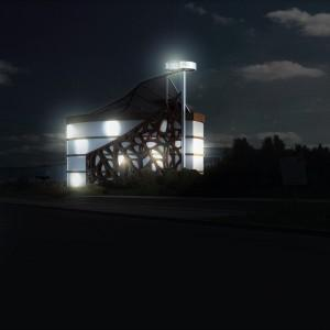 projekt budynku w nocy